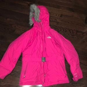 pink north face winter coat